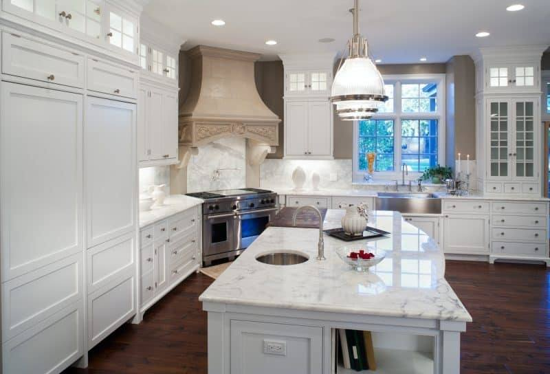 White Cabinets In Kitchen, Kitchen With Marble Countertops, Nice Kitchen,  White Kitchen With Granite, White Kichen, Wood Floors In Kitchen, Light  Granite