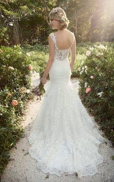 2016 Beautiful Backless Wedding Dress Sweetheart Lace Mermaid Gown With Beaded Straps Low Back With Ruffled Skirt Bridal Dresses Cheap Bridal Gowns Civil