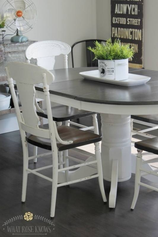 Farmhouse Style Painted Kitchen Table and Chairs Makeover in 2018 | Blogger Home Projects We Love | Pinterest | Painted kitchen tables,