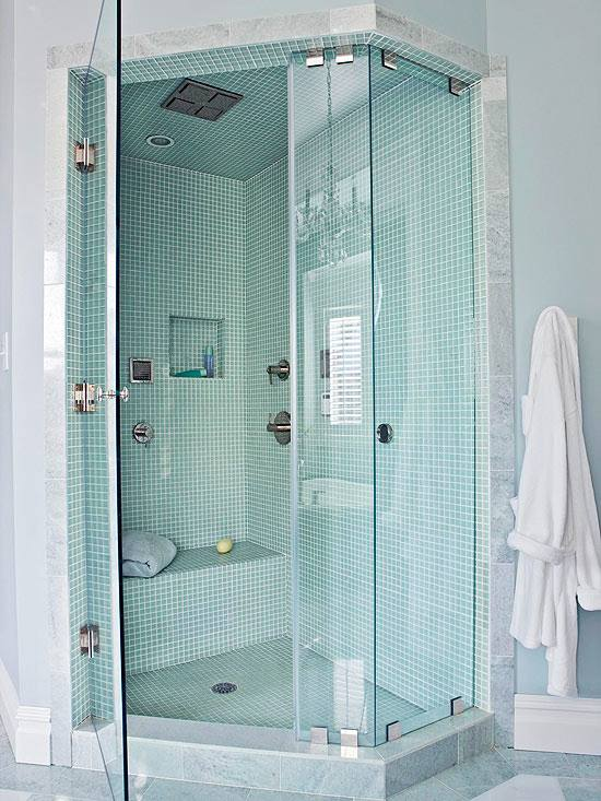 Dark Tile Wall Plus Cool Shower Head Also Glass Shower Cubicle On Modern Bathroom Design Ideas