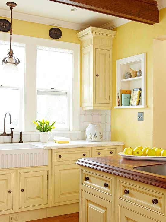 Outstanding Yellow Vinyl Tile Flooring In Modern Small Kitchen Design With L Shaped Wooden Kitchen Cabinets In White Finish Which Has Gray Marble Granite