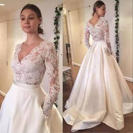 Discount Vintage 2016 White Princess Wedding Dresses With Pockets Lace  Appliques Boat Neck Capped Sleeves Backless Bridal Gowns With Sweep Train  Cheap
