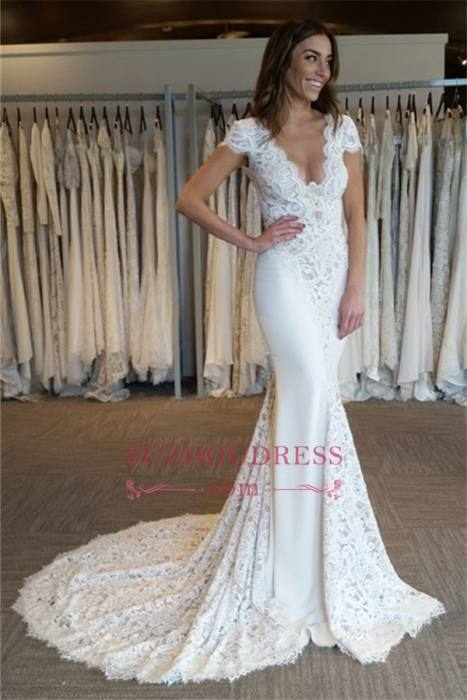 Elegant Ball Gown Short Sleeve Beading Floor Length Lace Up Cheap White  Ivory Princess Wedding Dress Bridal Gowns Summer Wedding Dresses Vintage  Style