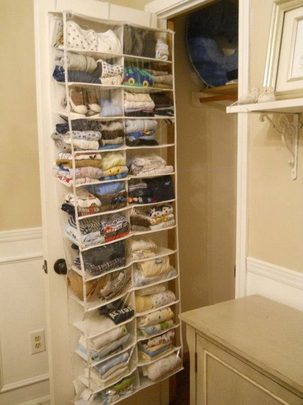 Hanging cubbies to store winter clothes, purses, and clutches