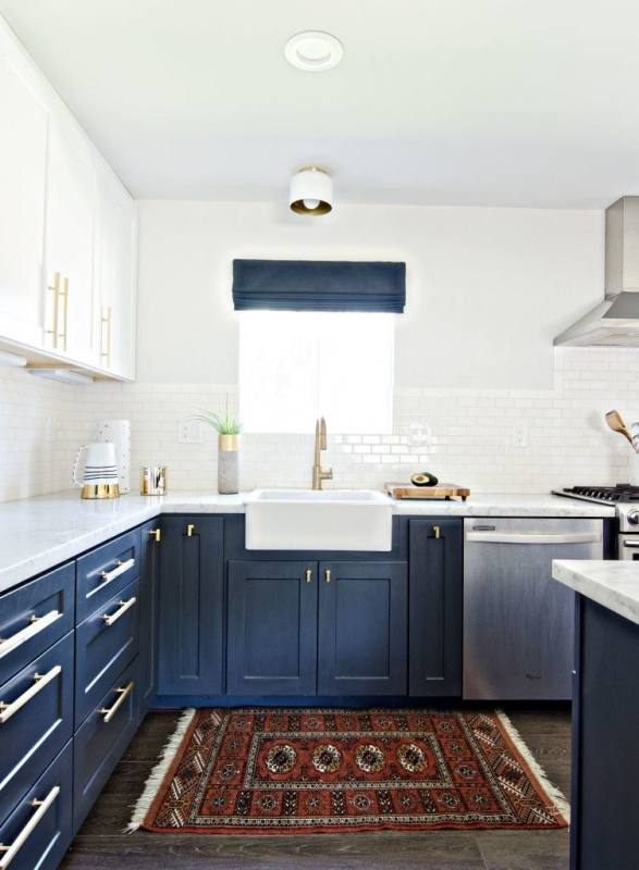 Kitchen Interior Medium size Blue Kitchen Ideas Decor Light Walls Pale