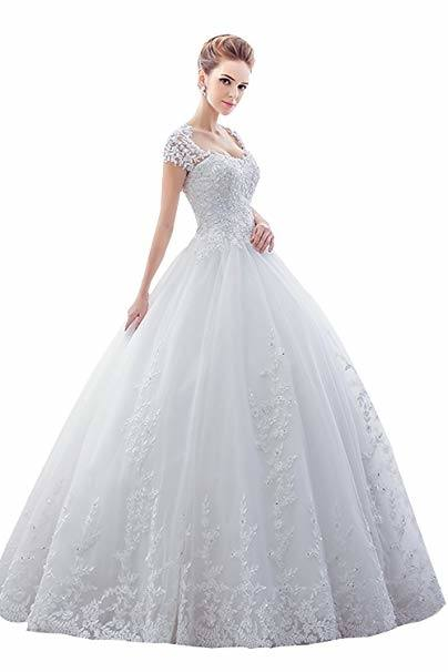 Discount Romantic Princess Wedding Dresses Short Sleeve With Crystals Sash  Elegant White Bridal Gowns Vestido De Casamento Dresses Online Shopping  Gold