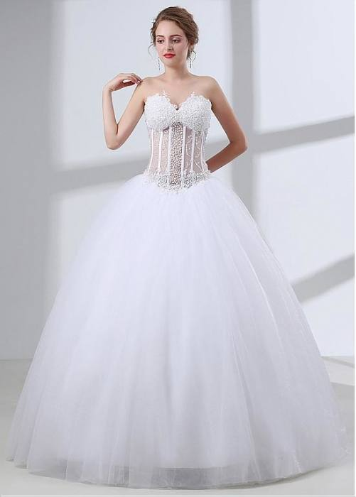 In Stock Gorgeous Tulle & Organza Sweetheart Neckline Ball Gown Wedding Dresses With Lace Appliques