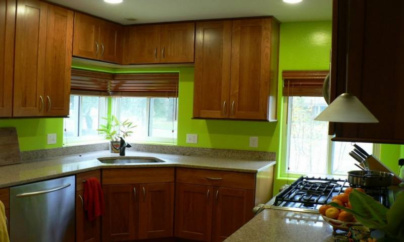 Kitchen, Project Gallery Green Kitchen Walls: Brilliant Kitchen In Green  Designs
