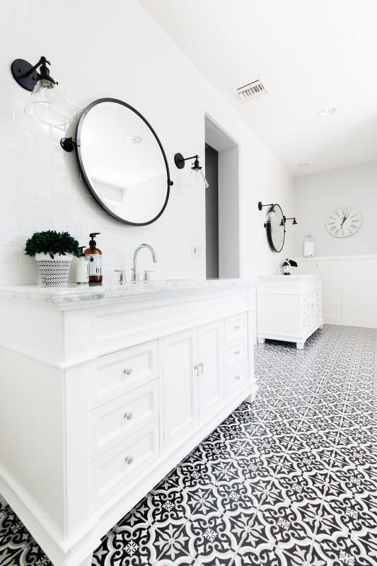 white bathroom remodel contemporary