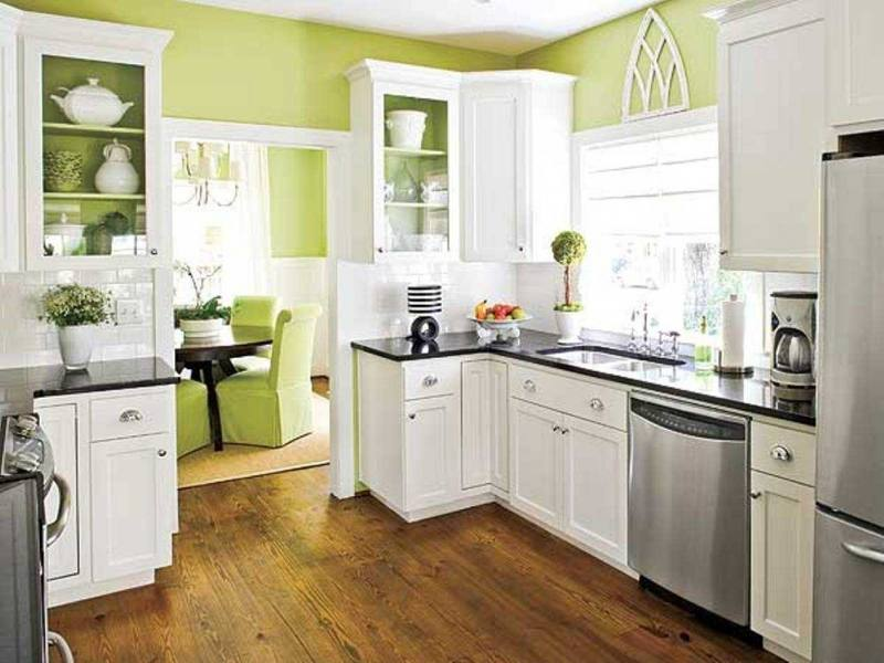 Awesome Lime Green Kitchen Decorating Ideas Green Tile Pattern Glass  Backsplash Brown Wooden Laminate Flooring White