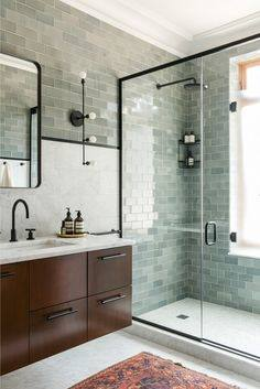 wooden plank lined shower in white bathroom with text top four bathroom trends for 2018
