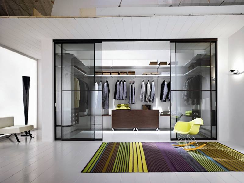 dark brown wooden closet with glass door and stainless cloth  hooks connected by beige