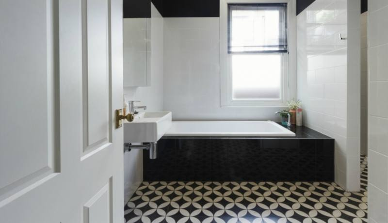 Bathroom Tile Design Ideas Black White Prestigious Black White Bathroom At  Modern Bathroom Decor Installed In Tiled Flooring And Illuminated By  Ceiling