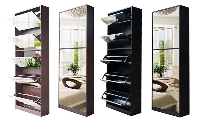 Mirrored Shoe Storage Cabinet