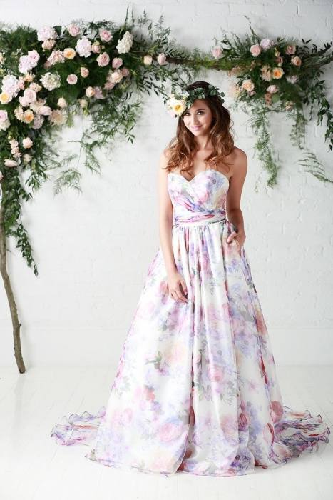 pink wedding dress with flowers