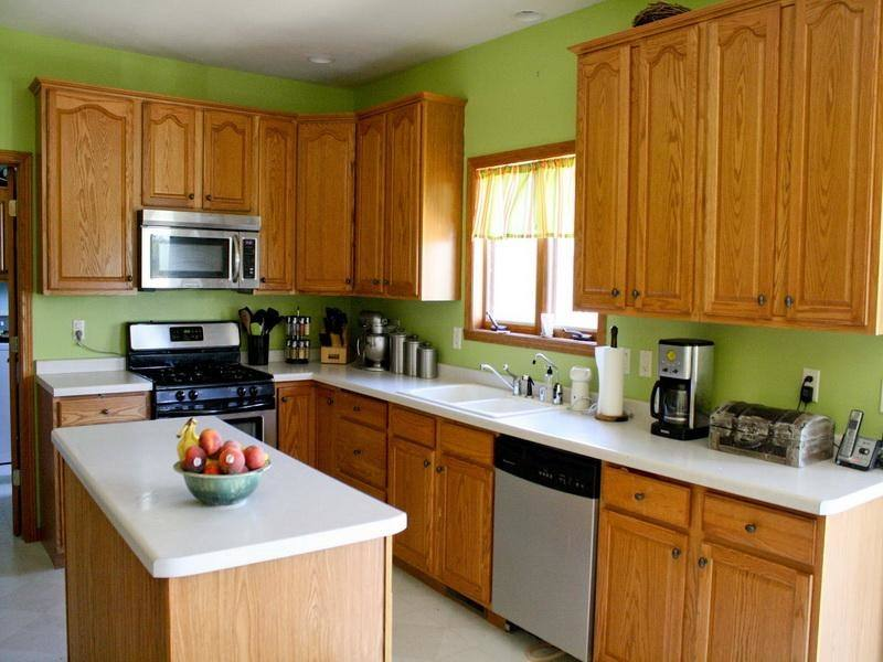 Ranging from olive green to lime green, these kitchens