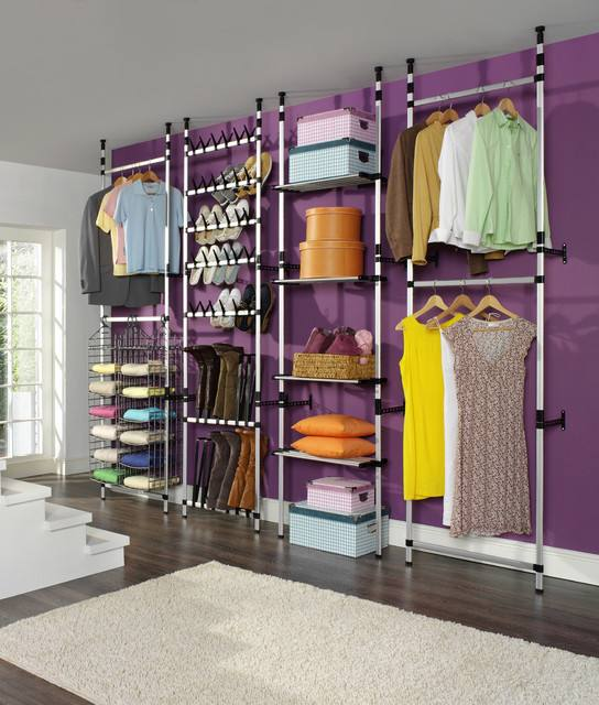 Master closet ideas including drawers, hanging space, and shoe racks