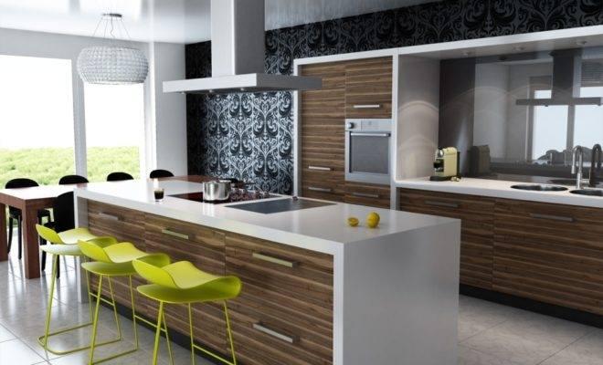 blue and white modern kitchen