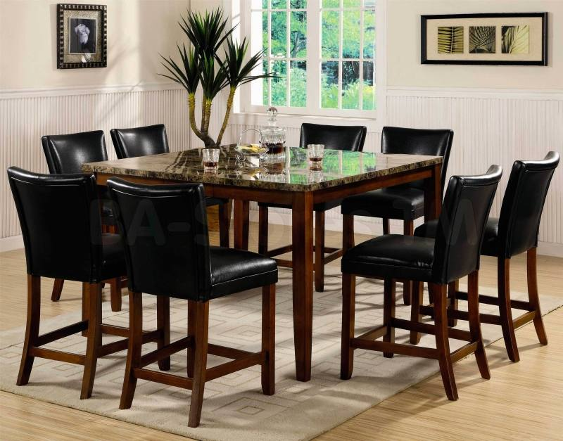 Extendable mahogany dining table with six chairs
