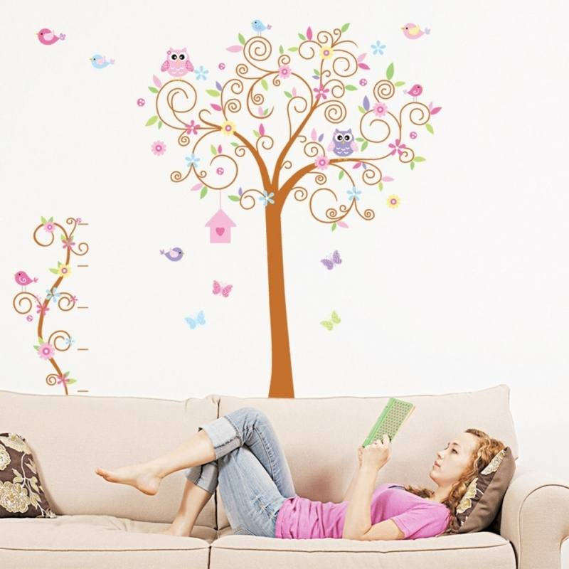 Wholesale Removable Wall Art Stickers Childrens Rooms Giraffe Pink  Flowers Blossom Monkey Tree Branches Tree Wooden