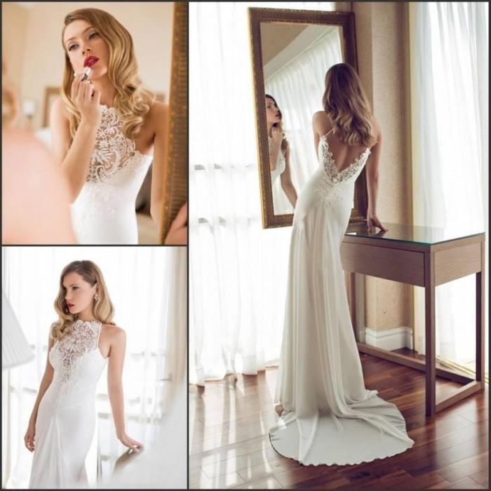 Romantic Mermaid Wedding Dresses Backless Sweep Train Lace Appliques 2017 Sexy Deep V Neck Country Wedding Bridal Gowns Custom Cheap Corset Mermaid Wedding