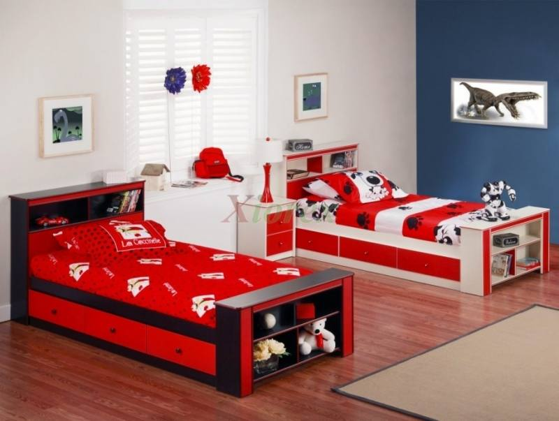 Luxury children s room with two beds and a roof window