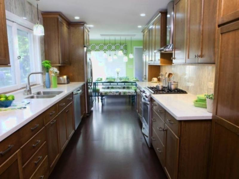 grey and white narrow kitchen with dual deep sink and gas stove top