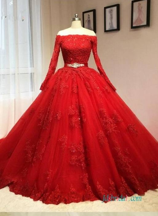 Discount Dark Red Lace Appliqued Muslim Wedding Dresses With Long Sleeves A Line Beaded High Neck Sweep Train Tulle Plus Size Bridal Gowns Wedding Gowns