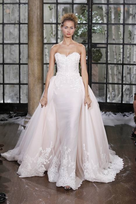 Charming A Line 2015 Wedding Dresses with Detachable Skirt Amelia Sposa  Applique Sheer Crew Neck Simple Lace Bridal Dress Ball Gowns Online with