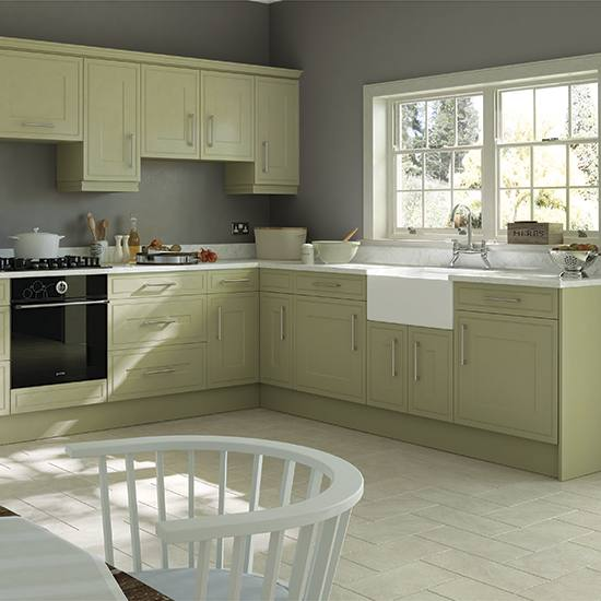 Kitchen , Great Ideas of Paint Colors For Kitchens : Sage Green Paint Colors For Kitchens With White Cabinets And Island With Butcher Block