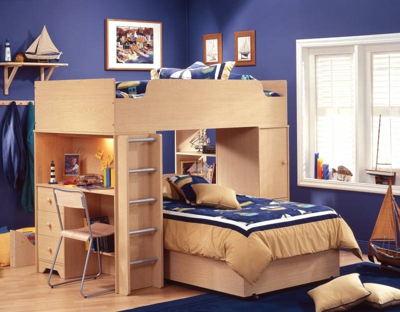 The playful range includes 10 unique pieces, including desks, chairs,  wardrobes and storage boxes, while this brilliant bed is definitely the  star of the