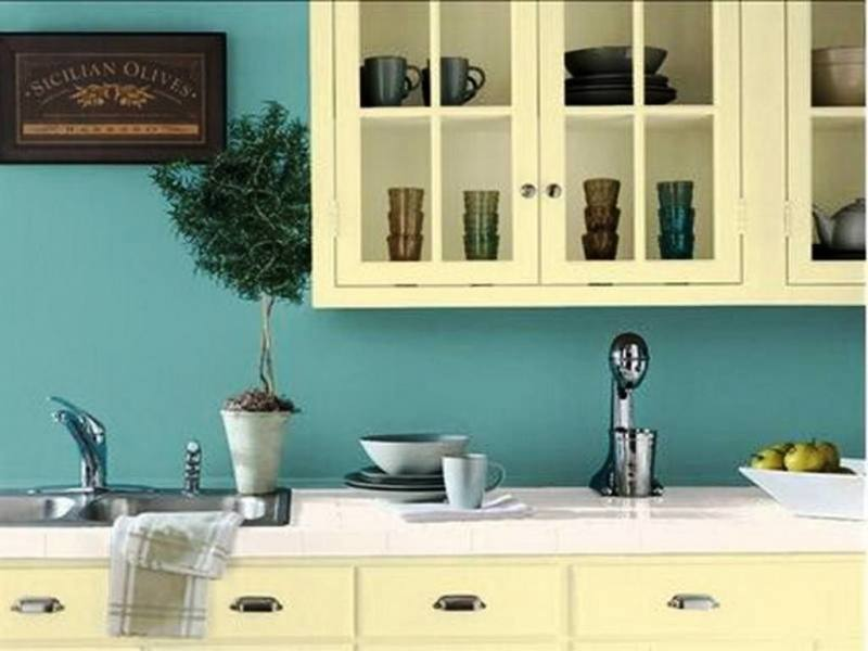 yellow kitchen walls | Small Kitchen Designs in Yellow and Green Colors Accentuated with Red