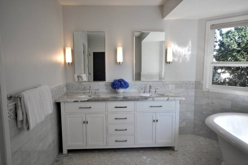 small white bathrooms