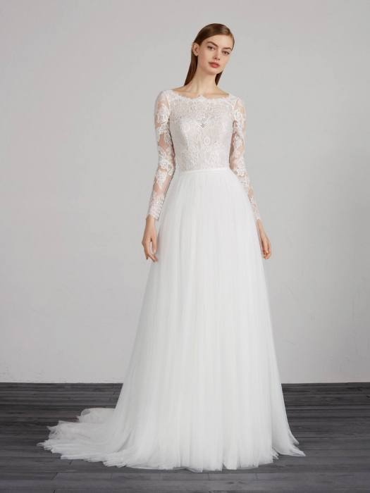 Discount Vestido De Noiva 2017 Simple But Elegant Detachable Train Lace Wedding Dresses Long Sleeve Tulle Mermaid Muslim Wedding Gowns Aline Dress Big