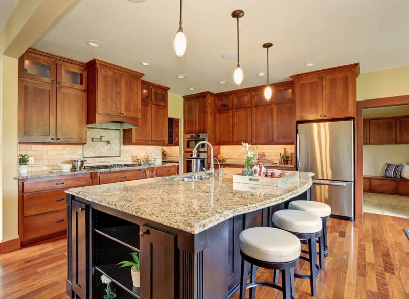 Kitchen with Bianco Venatino Marble Countertops view full size