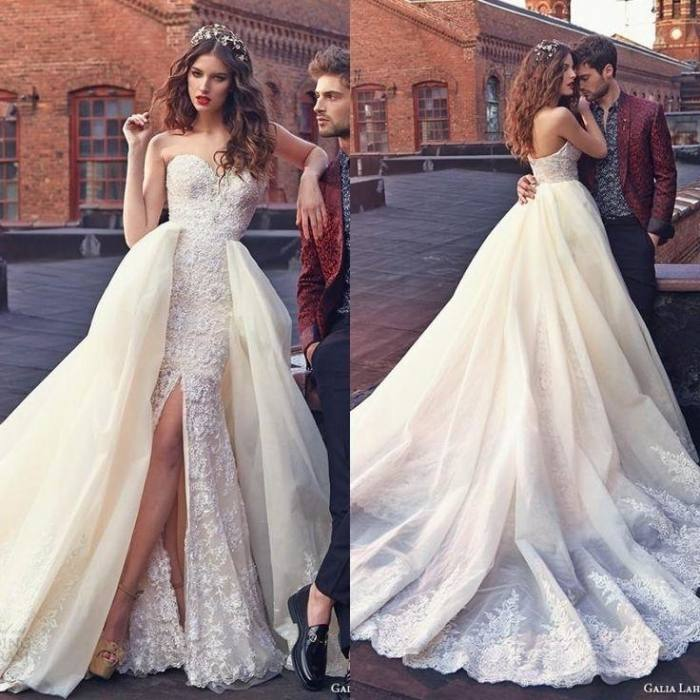 Sexy Backless Sweetheart Off the Shoulder with Detachable Skirt Train Lace  Mermaid Wedding Dresses Removable Skirt