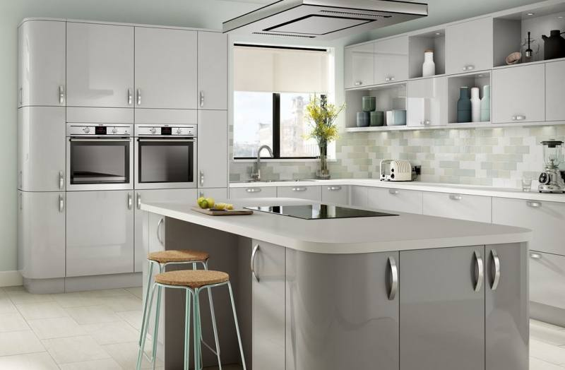 Grey Kitchen Curtains Chic Ideas And White Decor Check Gloss