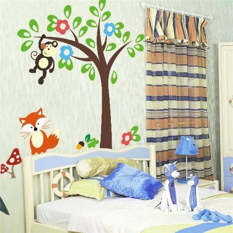 monkeys tree wall decal kids bedroom decoration 1201