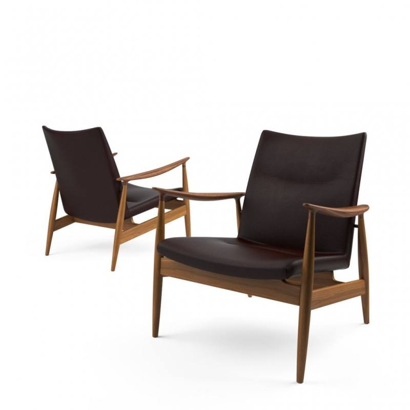 Rare easy chair model 103 in oak and leather designed by Illum Wikkelsø