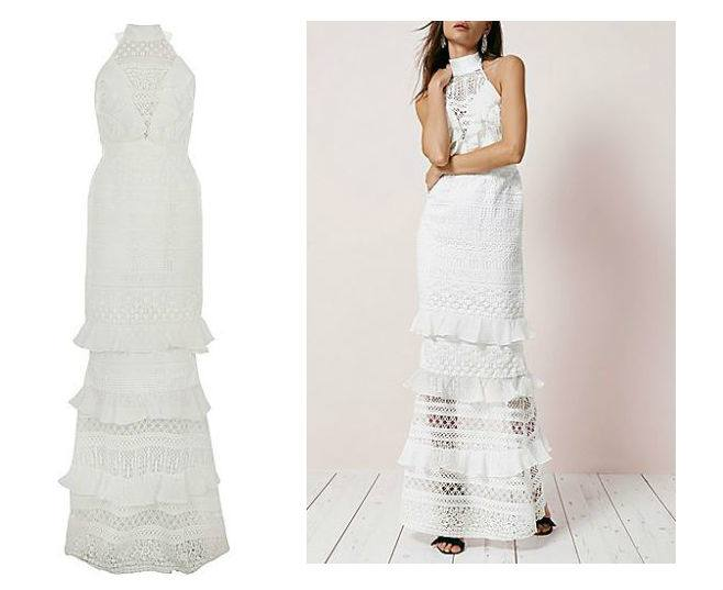 Shop River Island Embroidered Lace Bardot Dress at ASOS