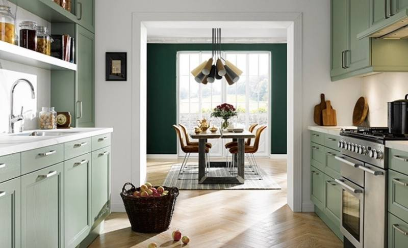 kitchen with bold green cabinetry  colour ideas