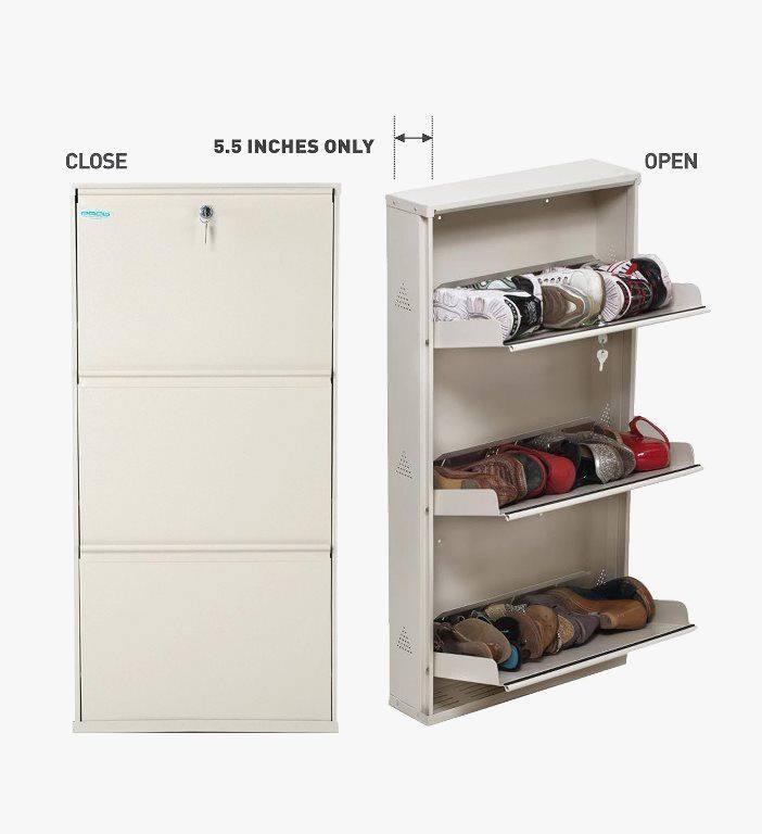 Five Door Steel Shoe Rack In Brown & White Colour