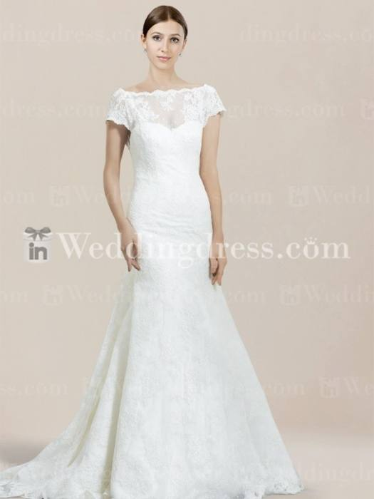 Go back gallery for a line lace wedding dress with short sleeves