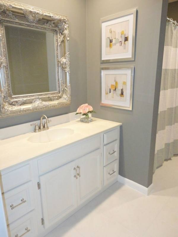 Small Bathroom Remodel On A Budget Light Brown Wooden Vanity Sink Cabinet Small Round White Strips Light Marble Tile Shower Backsplash Round White Sinks