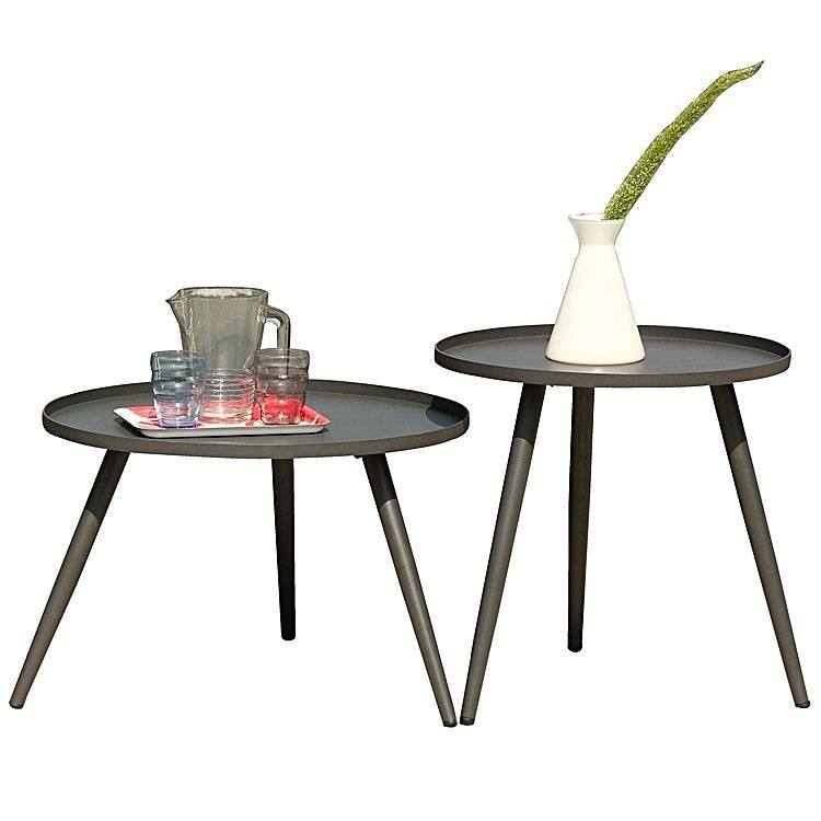 Set your outdoor scene to shine like summertime! Tatu Outdoor Side Table,  Charcoal (Set of 2) ONLY $149
