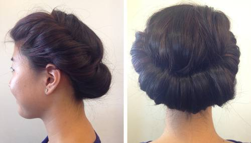 This hair resembles a low hanging bun but once again the classic rule of  French twist hair style, the roll and tuck method is used
