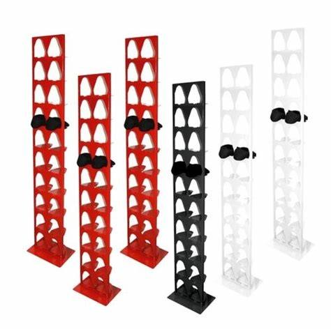The Shrine shoe rack goes with a vertical orientation, so it will fit into spaces where a horizontal rack would not