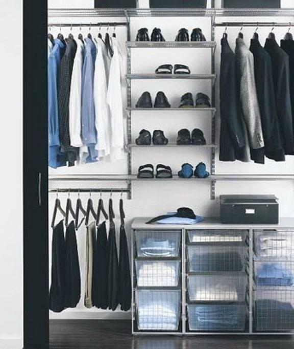 An open wardrobe display in a bedroom