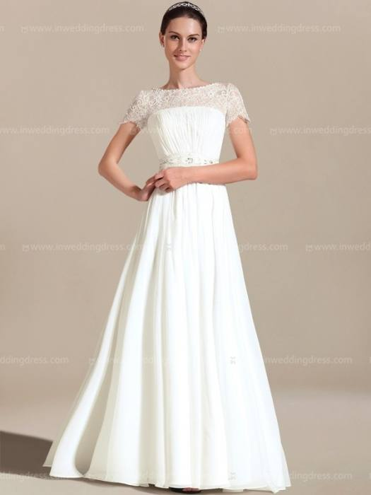 Faisata lace short sleeve backless lace wedding dress #W025