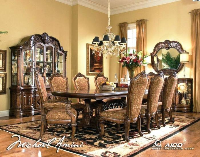 Large Images of Michael Amini Cortina Dining Room Set Michael Amini  Bedroom Set Aico Furniture Collection